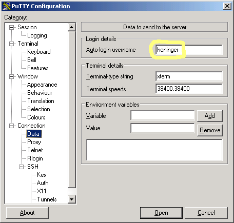 putty setup dialog #2
