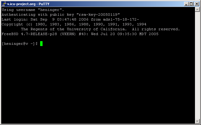 putty login screen